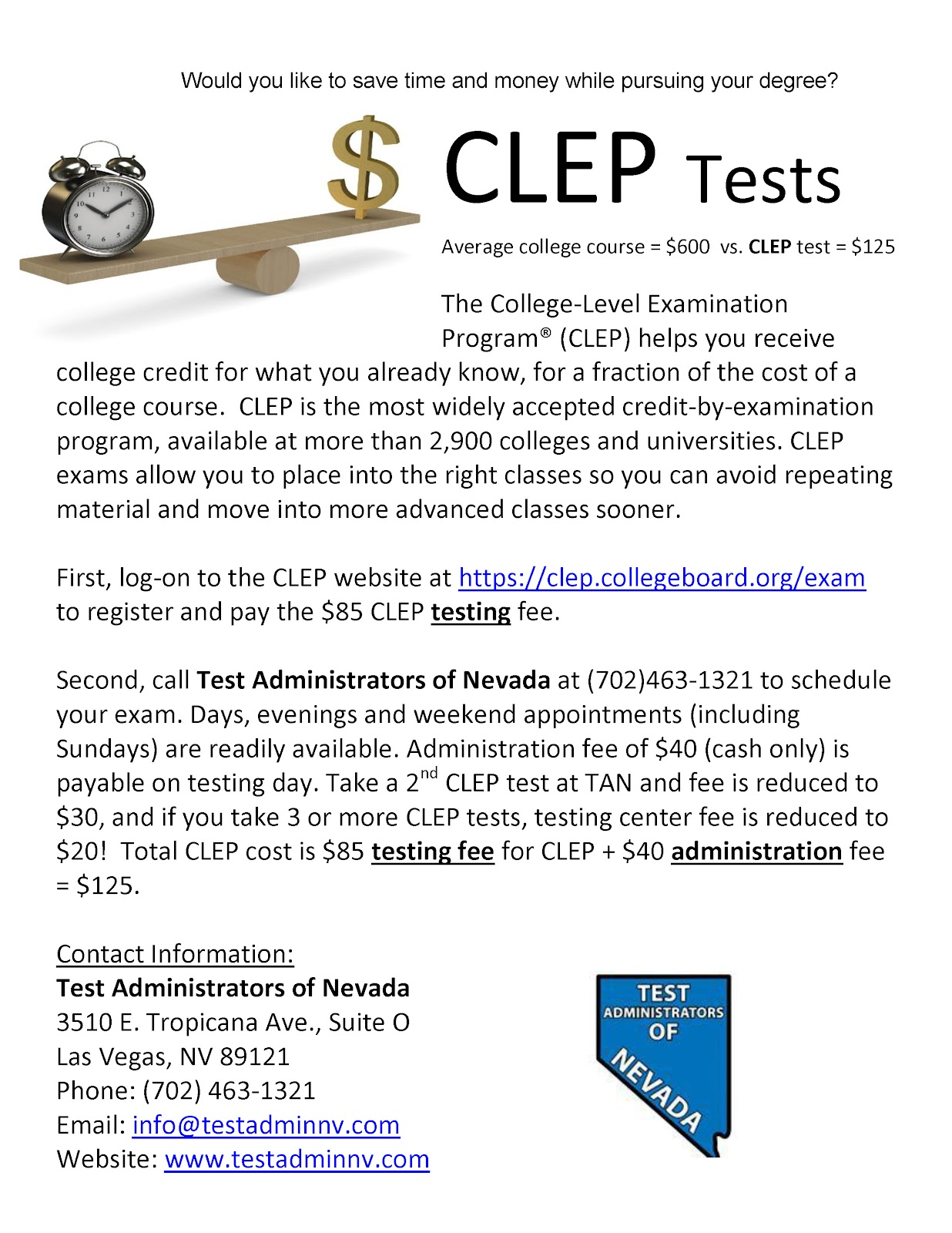 Earn Credit by Exam at UNLV - CLEP Information | Honors