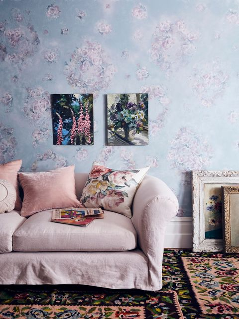 annie sloan   living room   chalk paint in svenska blue with floral decoupage, antoinette linen union sofa cover