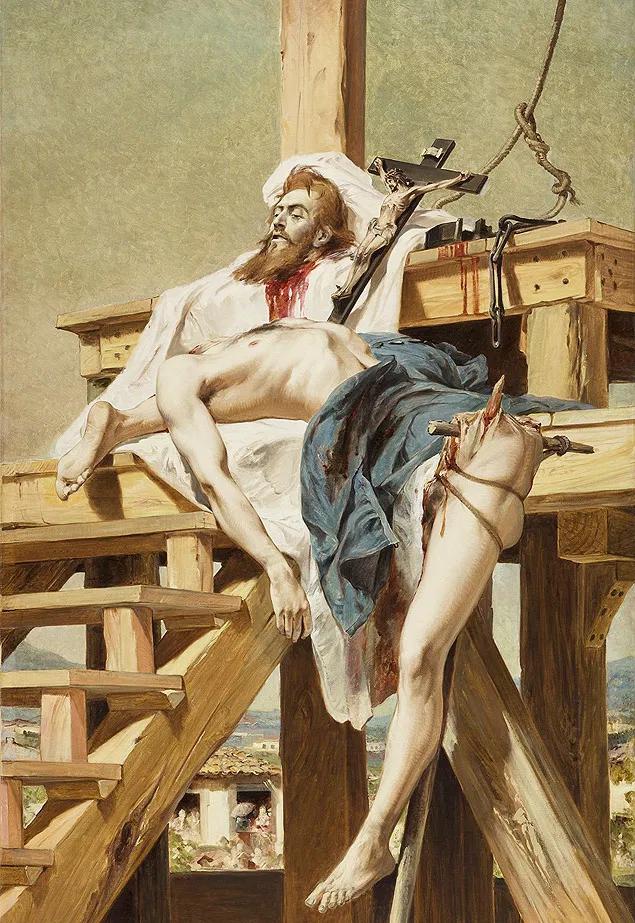 Na imagem, o corpo de Tiradentes aparece esquartejado e distribuído ao lado de um crucifixo em cima da forca.
