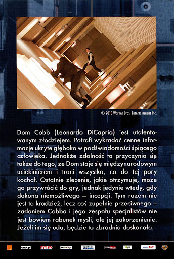 Tył ulotki filmu 'Incepcja'