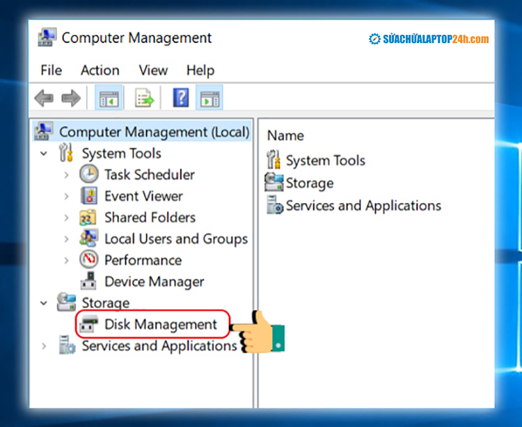 Chọn Disk Management