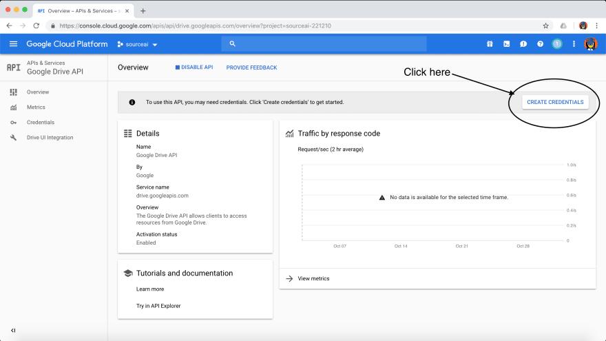Create credentials - Transfer Data for Free from Google Sheets to your target destination