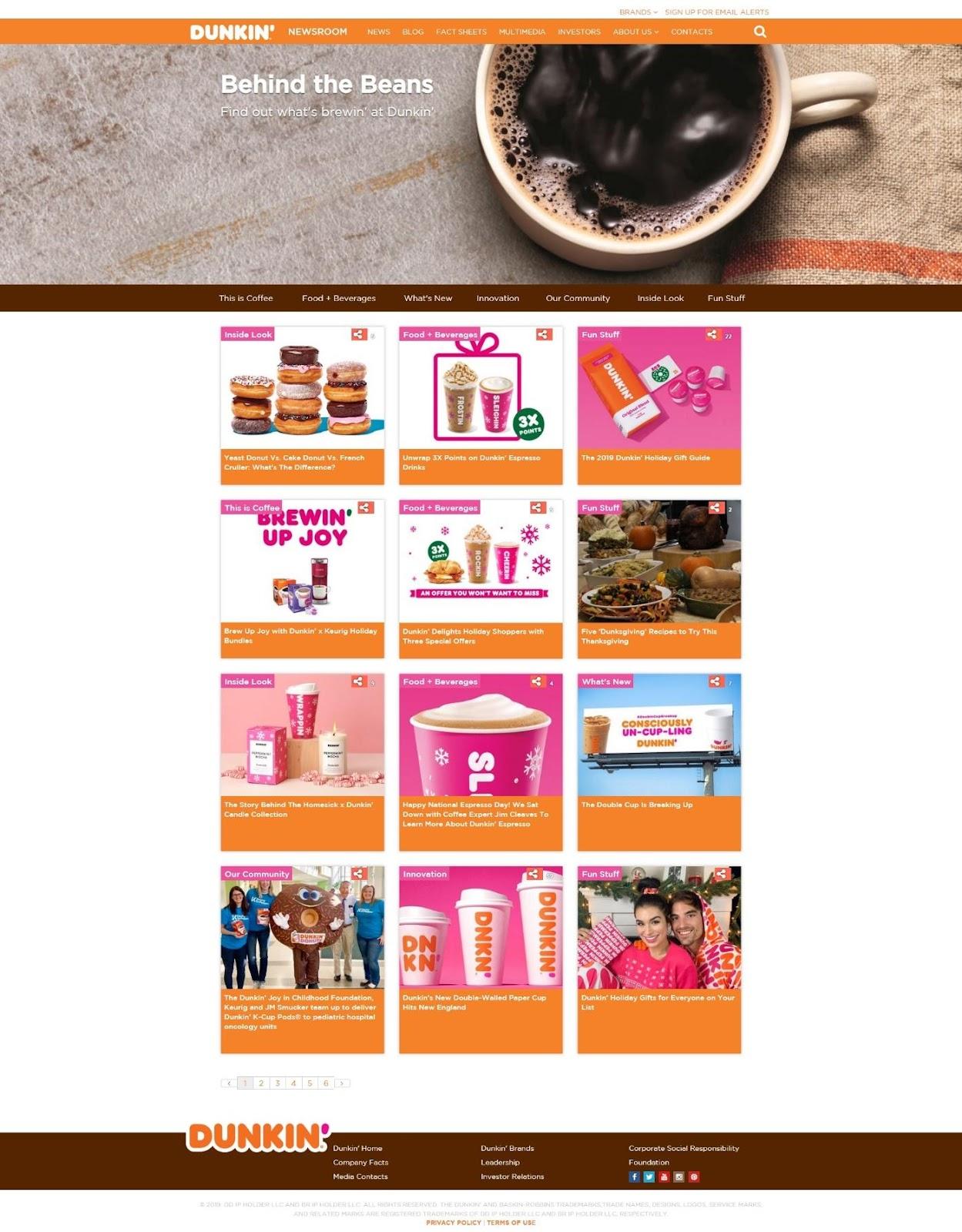 Dunkin Donut's website