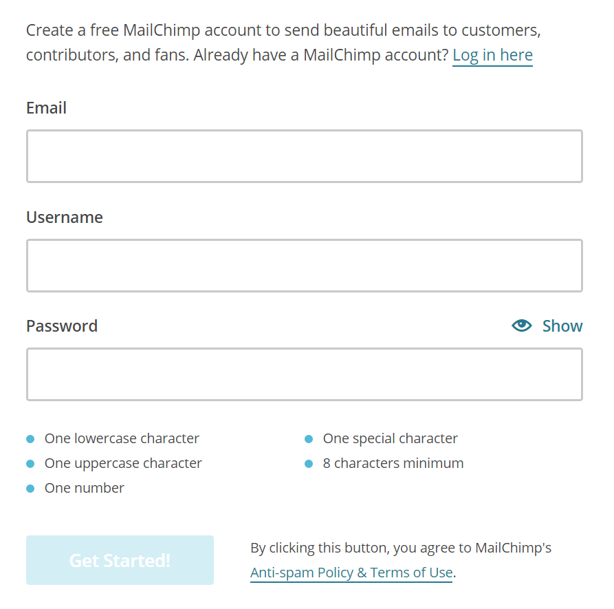 MailChimp Signup Form Field Example