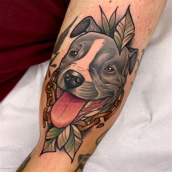 4. ลายสักหมา พิทบูล ที่แขน