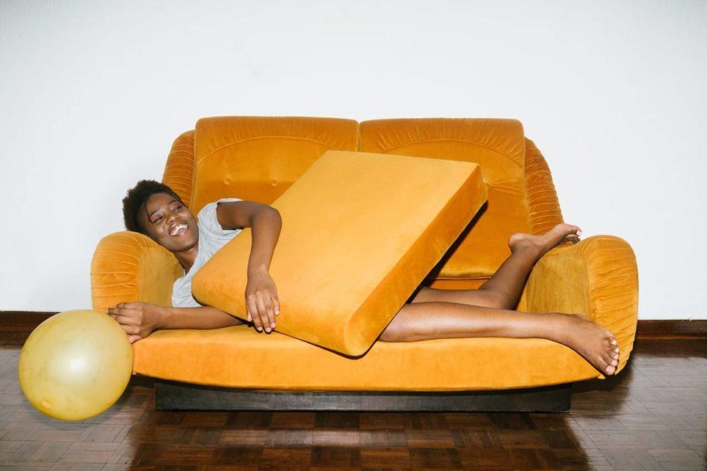 orange convertible mattress sofa
