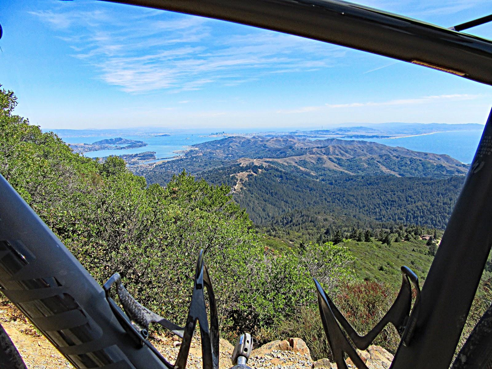 Cycling Mt. Tamalpais from Alpine Dam - view of SF Bay through bike frame