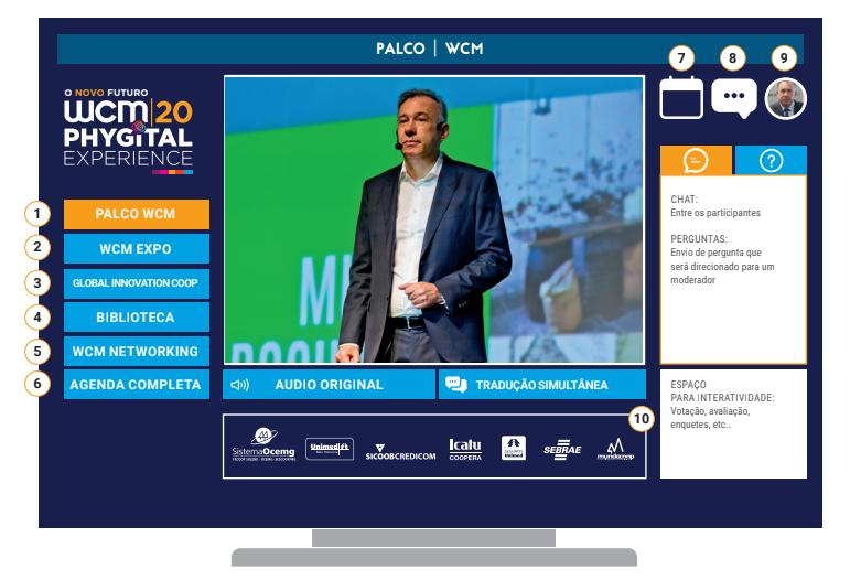 Demonstração da interface da plataforma do WCM 2020