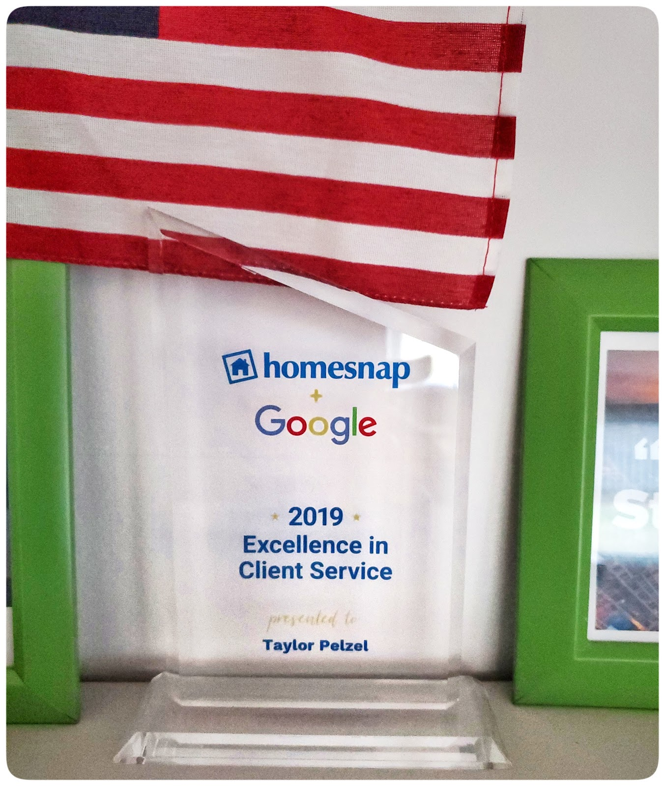 Client Appreciation Google and homesnap award