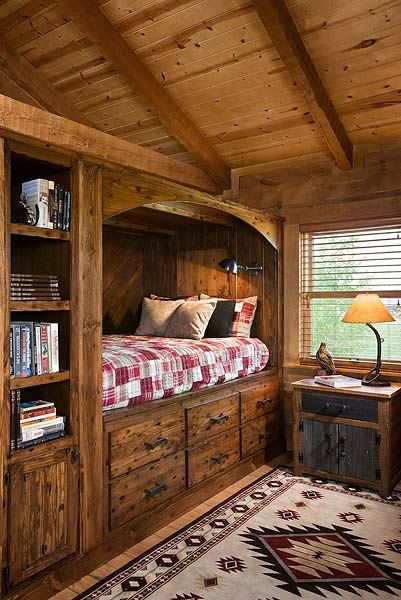 cabin-style bed: wooden bunk bed