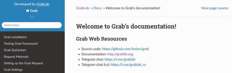 Grab – фрейсворк парсер