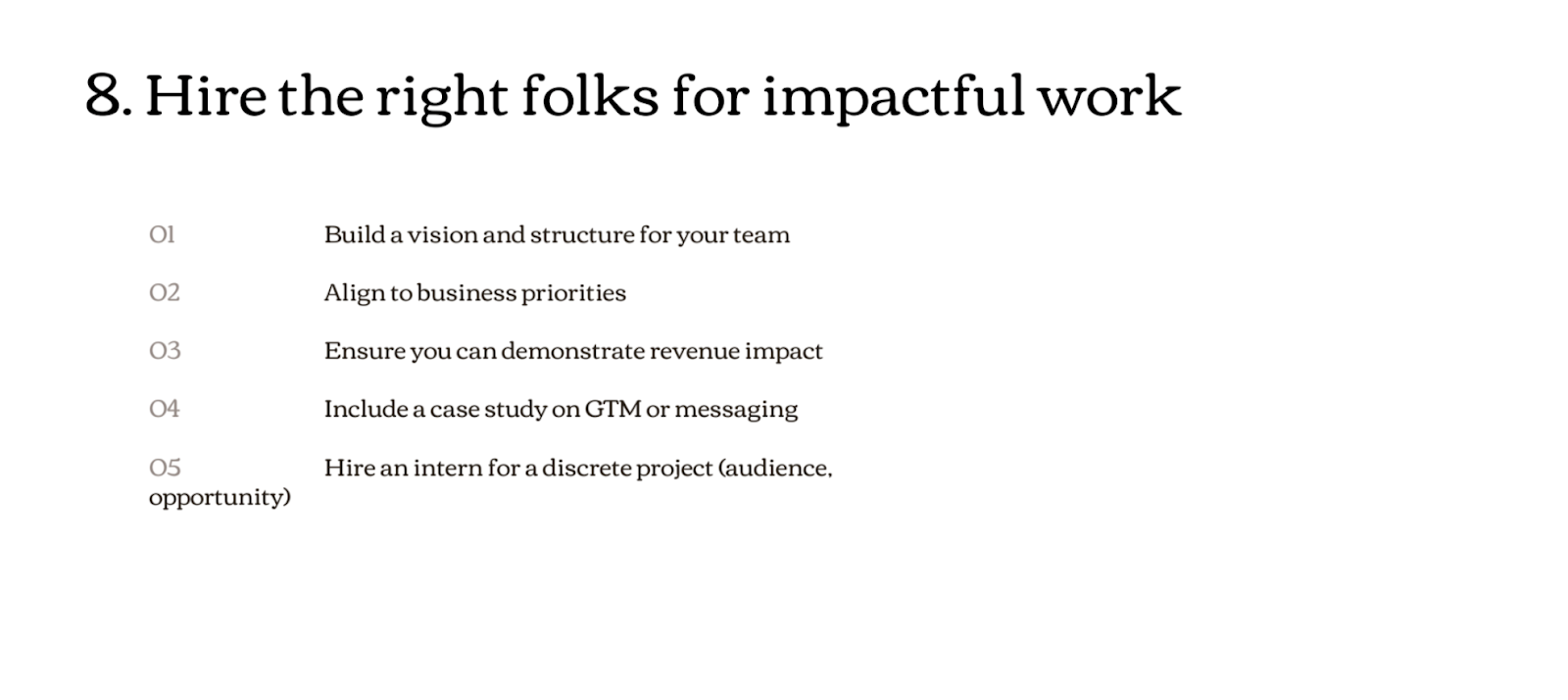 Breakdown of how to deliver impactful work in your PMM team