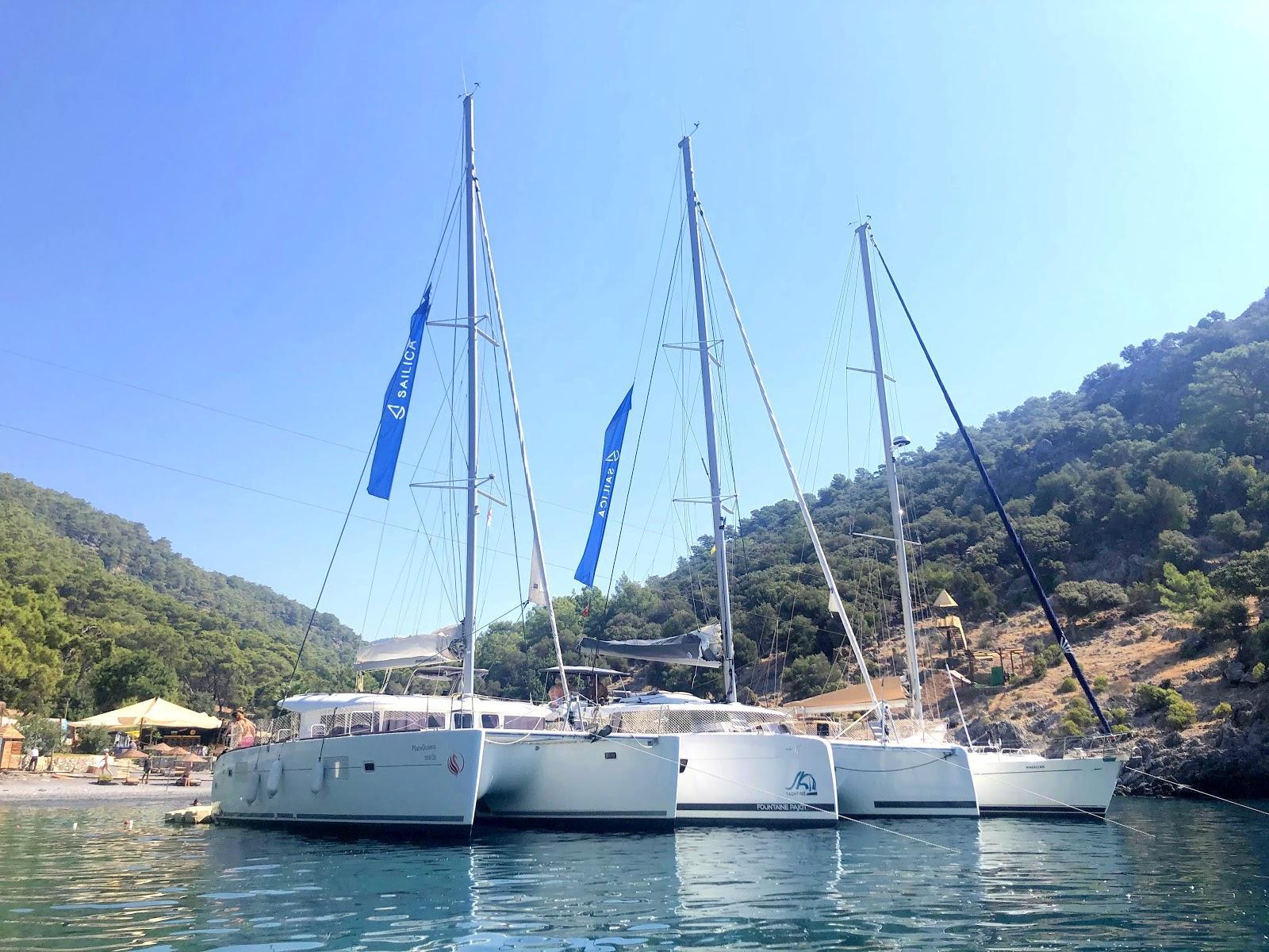 Catamaran in a bay in Turkey