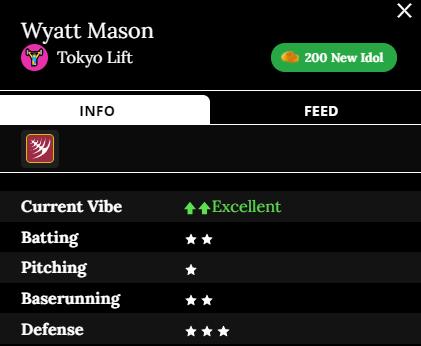 Wyatt Mason Team: Tokyo Lift Current Vibe: Excellent Batting: 2 stars Pitching: 1 star Baserunning: 2 stars Defense: 3 stars