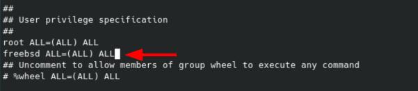 Install sudo on FreeBSD - add user sudoers. Source: nudesystems.com