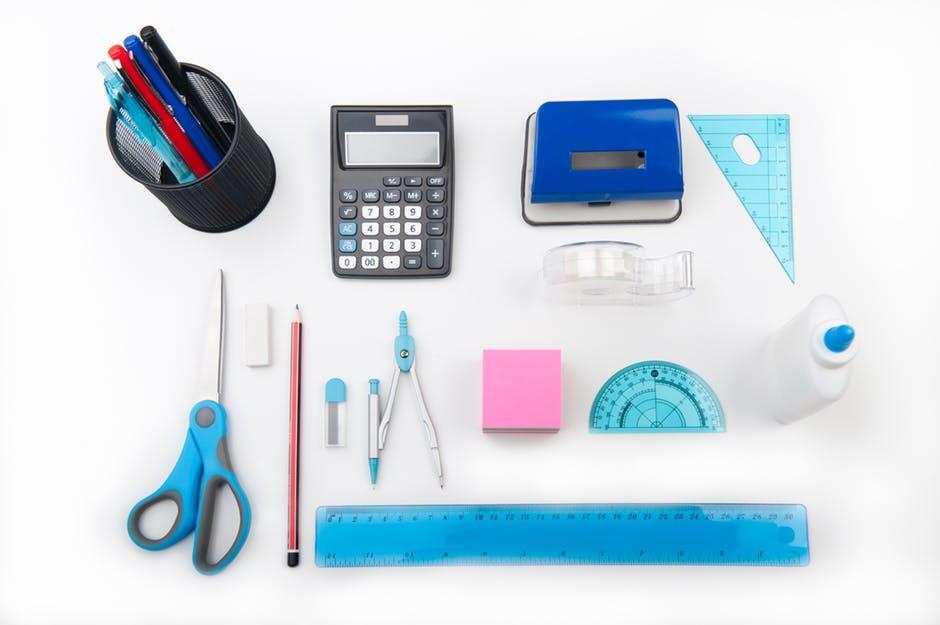 calculator, compass, desk