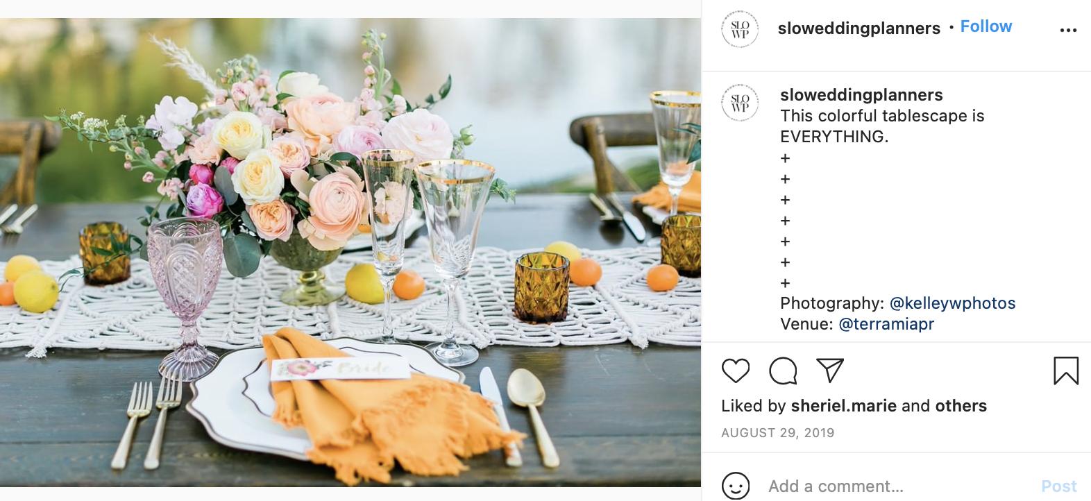 pastel pink, pale orange, and green wedding table detail shot