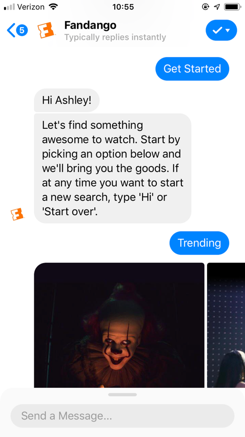 popular chatbots fandango bot