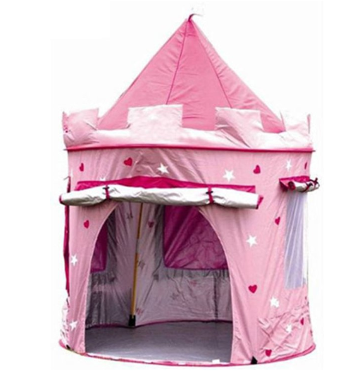 Roze prinsessenkasteel speeltent
