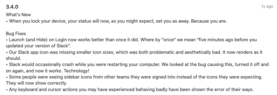 Release Notes Mistakes