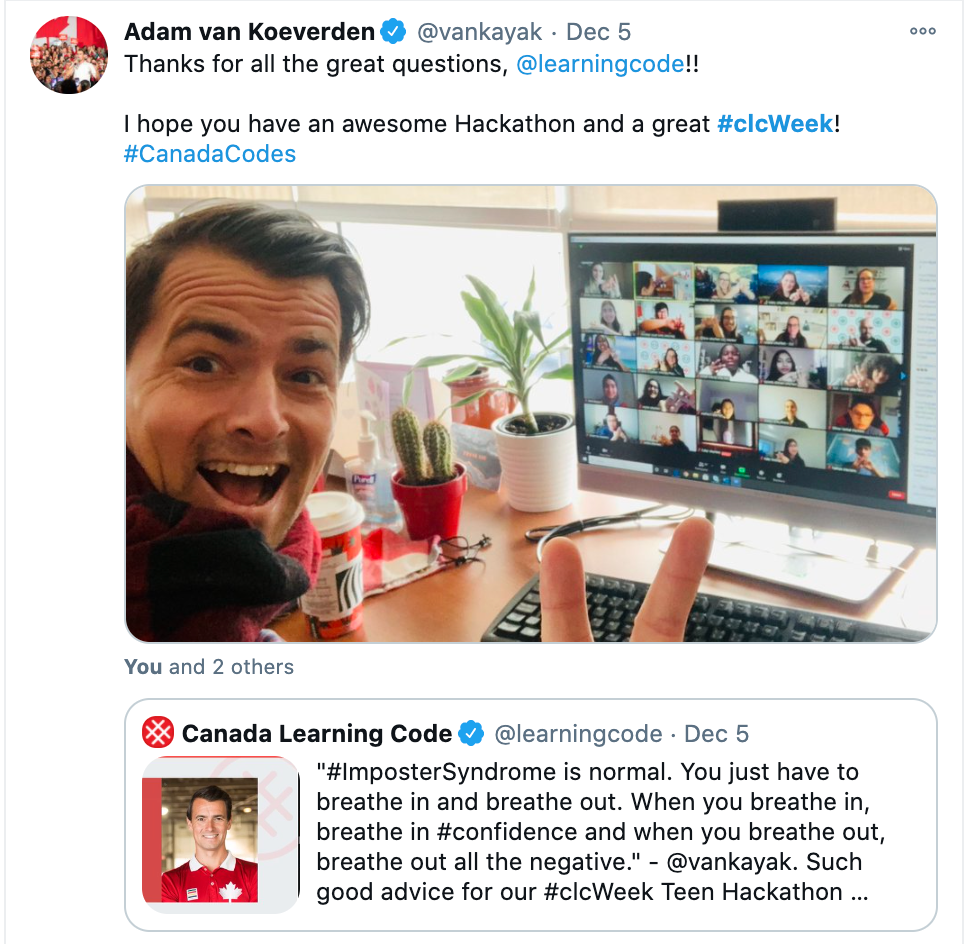 "Screenshot of CLC tweet by Adam Van Koeverden, saying: ""Thanks for all great questions, @learningcode! I hope you have an awesome Hackaton and great #clcWeek!"""