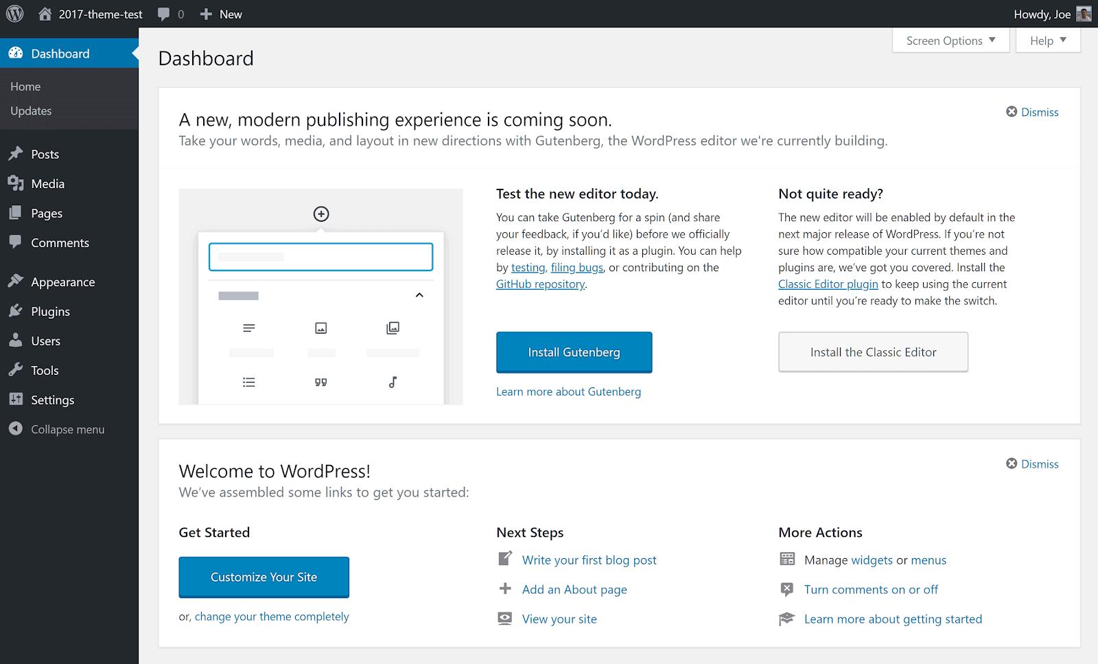 Ví dụ về Bảng điều khiển bánh đà WordPress