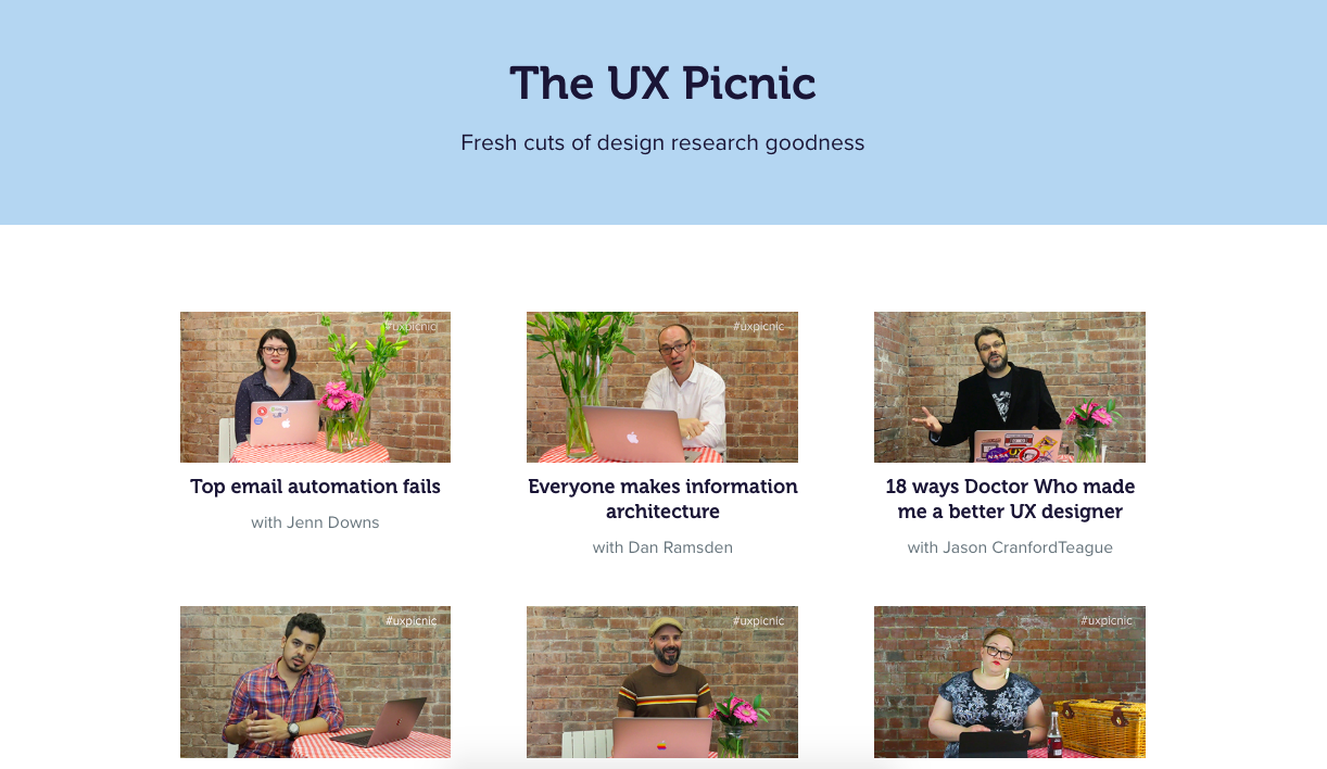 A screenshot of the UX Picnic webpage on the Optimal Workshop website. There are 6 links to different videos, with pictures of the people hosting the videos.