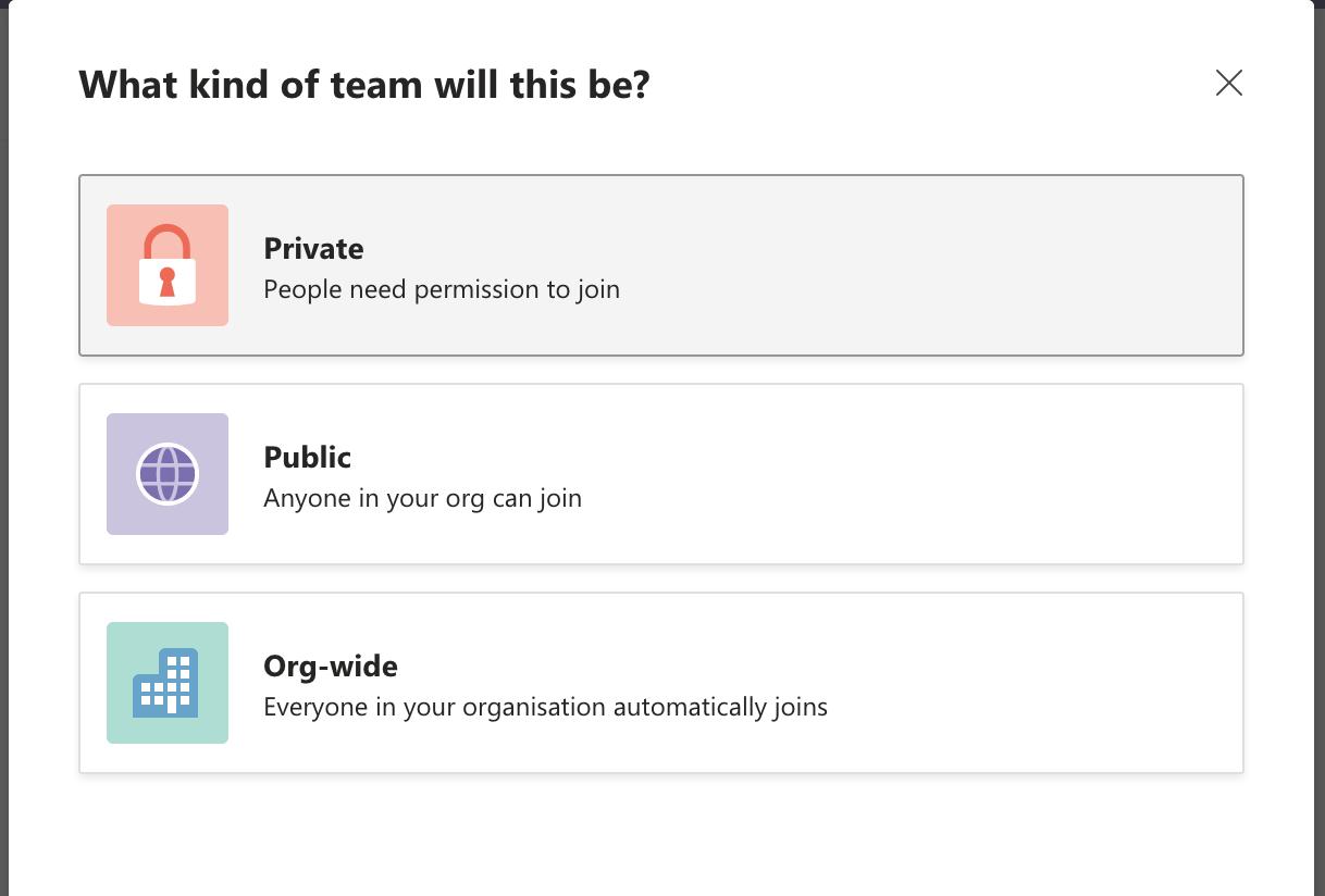 Set team's privacy on Microsoft Teams