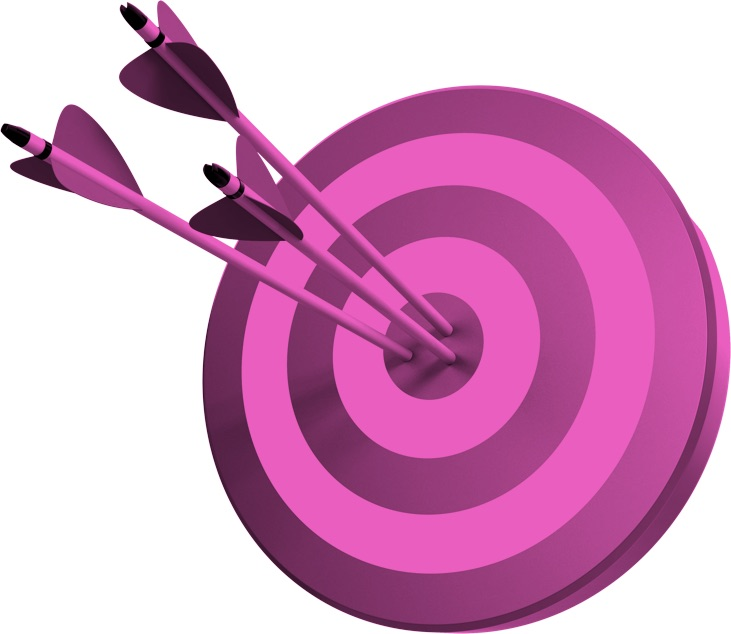 pink bullseye to show target audience and how you should think about it