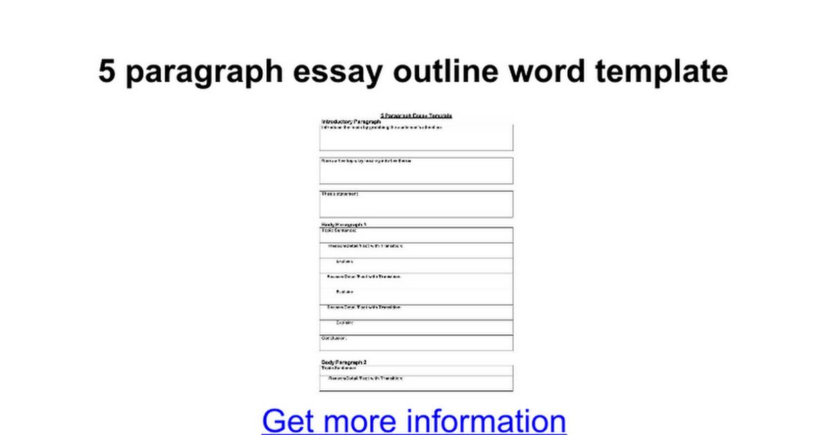 5 paragraph essay outline template