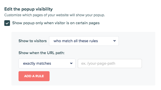 edit pop-up visibility settings for coaching quiz