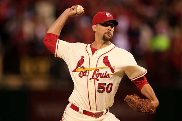 ST LOUIS, MO - OCTOBER 11:  Adam Wainwright #50 of the St. Louis Cardinals pitches in the first inning against the San Francisco Giants during Game One of the National League Championship Series at Busch Stadium on October 11, 2014 in St Louis, Missouri.  (Photo by Jamie Squire/Getty Images)