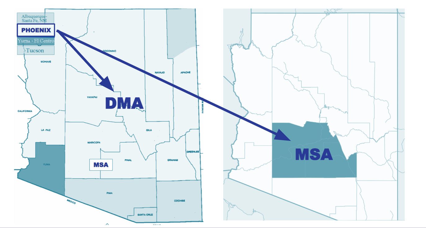 Image shows the difference between DMA and MSA market or city designations for traditional media buying.