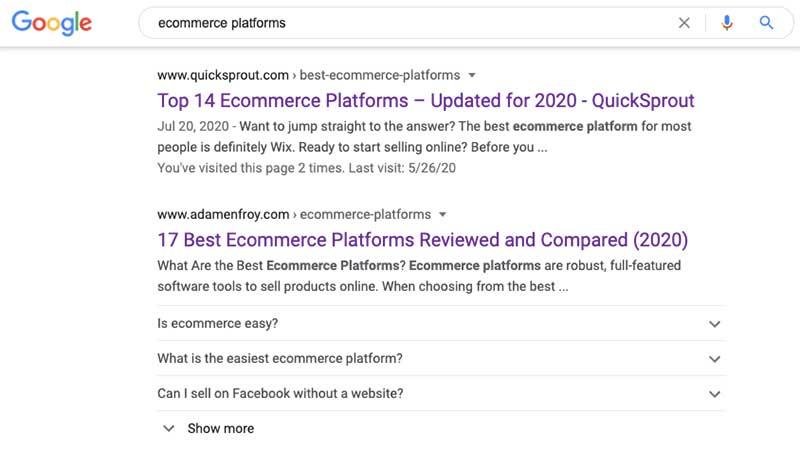 FAQ Schema ecommerce platforms