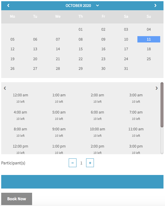 bookings calendar with maximum bookable slots as 10