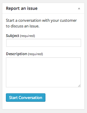 Quickly start a new conversation, relating to a specific order.