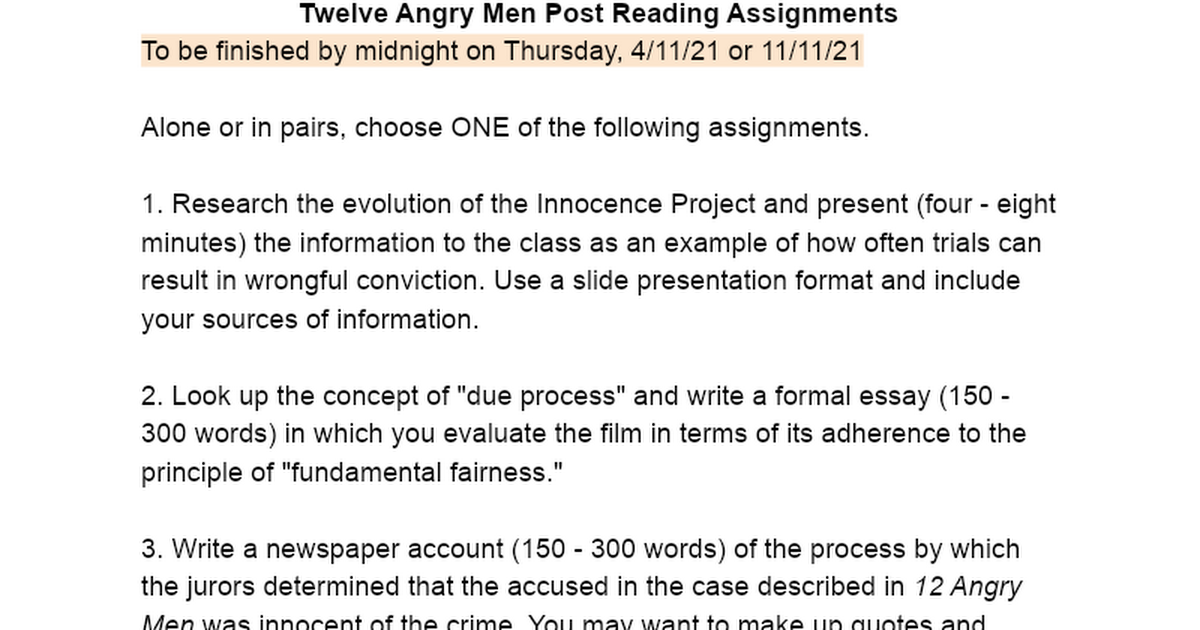twelve angry men post reading assignments google docs