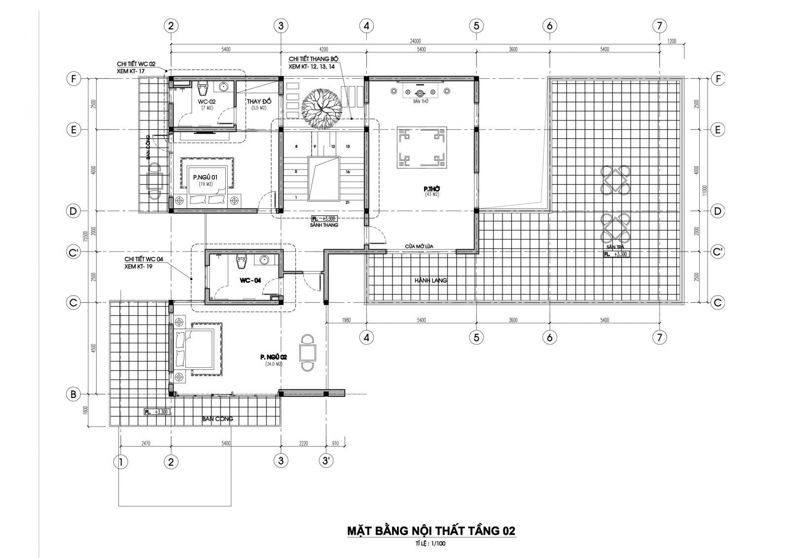 Mặt bằng tầng 2 mẫu nhà biệt thự 2 tầng hiện đại