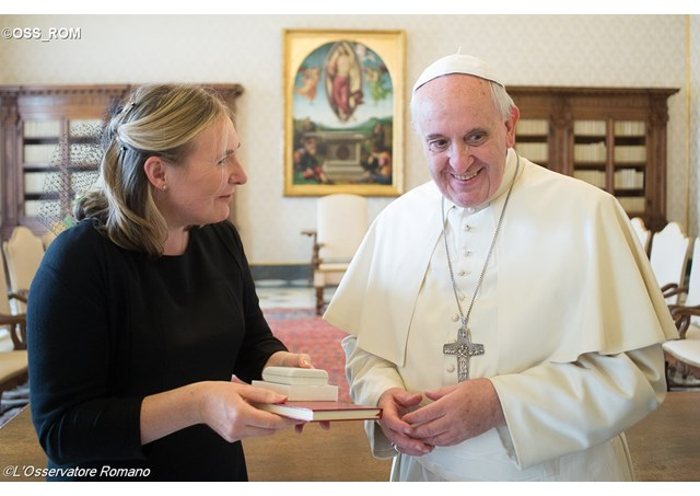 Irish Ambassador to the Holy See, Emma Madigan presenting her letters of credentials to Pope Francis in Sept 2014 - OSS_ROM