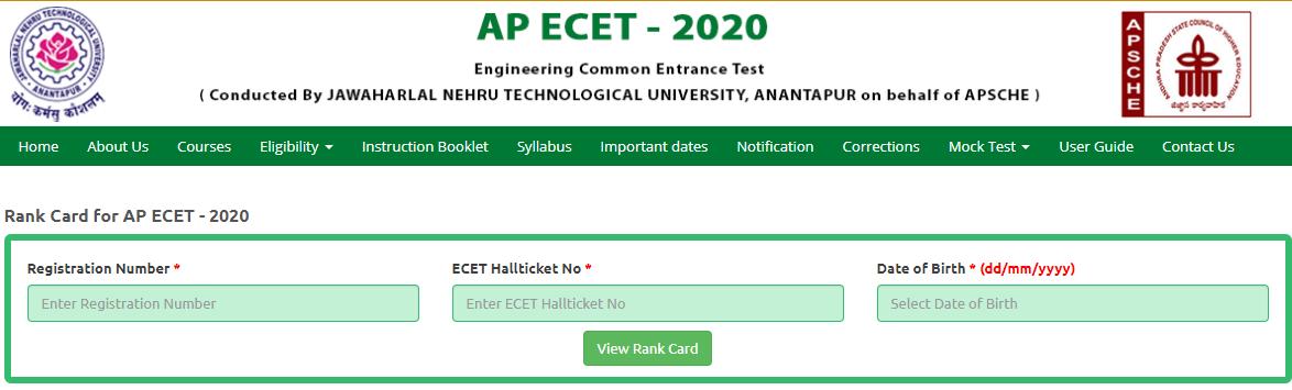 AP ECET 2021 Rank Card