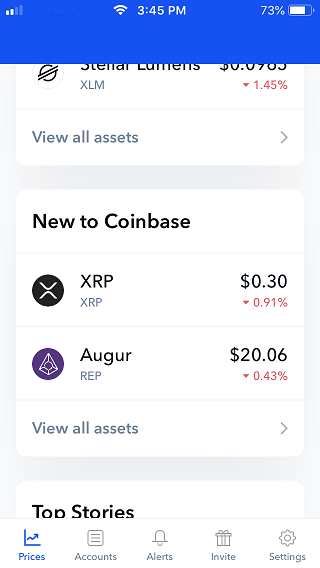 Coinbase app screenshot.