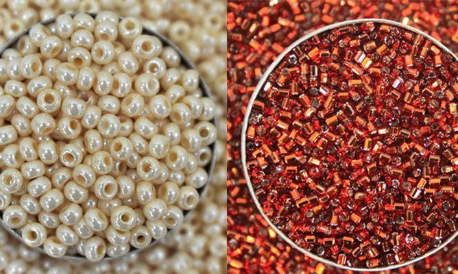 aari wrok white beeds & glass beads