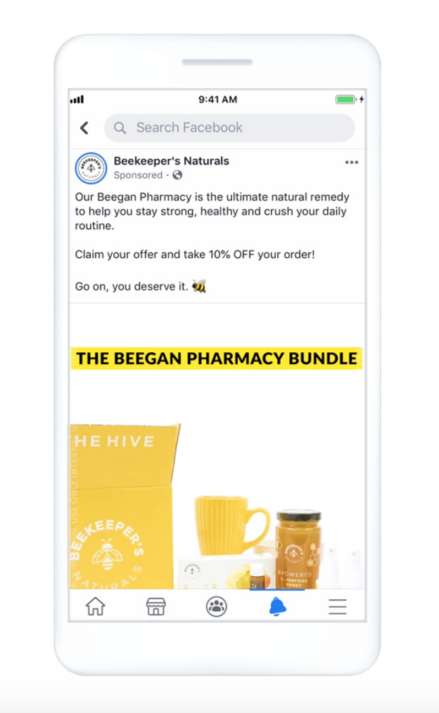 Beekeeper's Natural Video ad example on Facebook