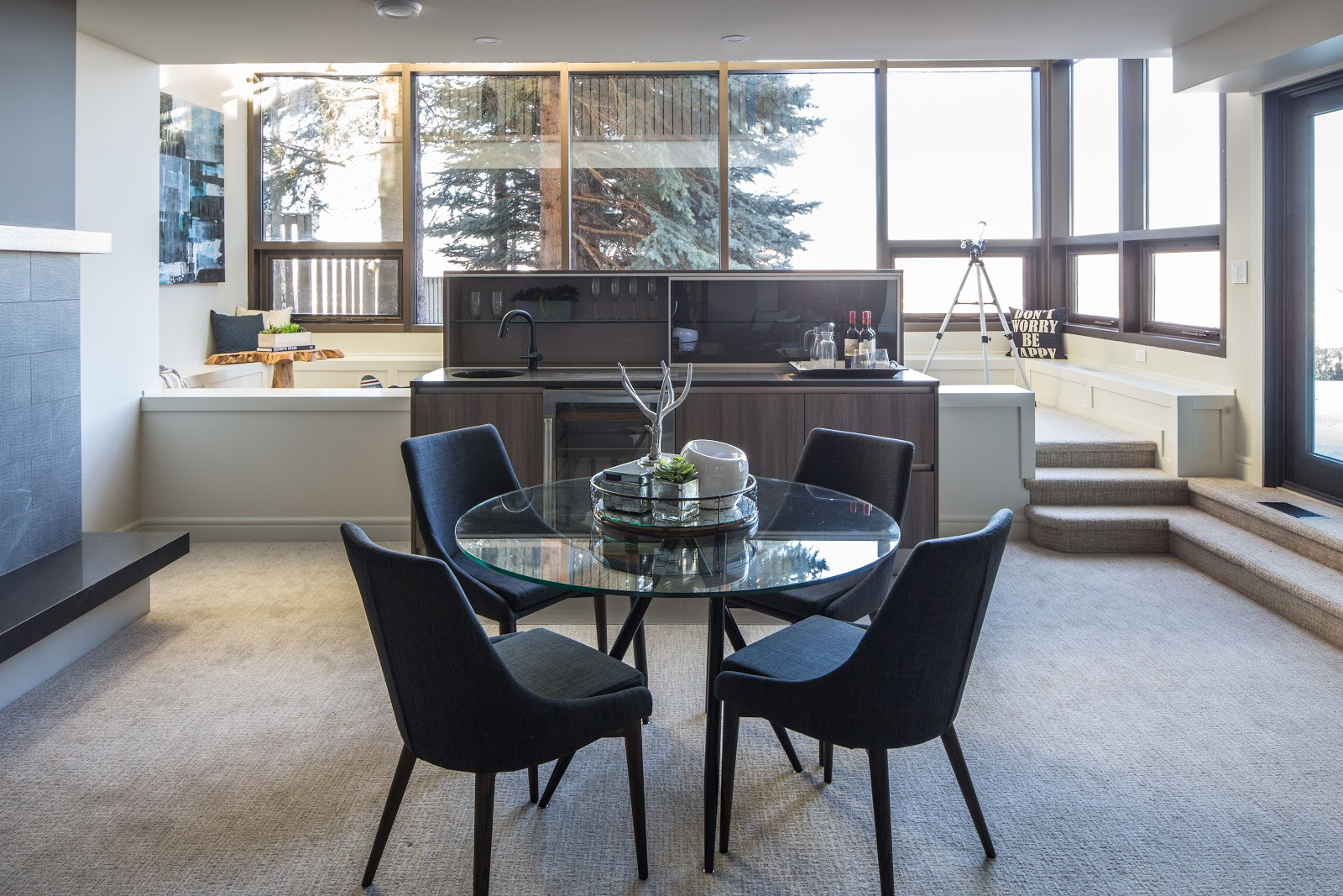 NW Calgary interior design basement family room dining area wet bar entertainment space