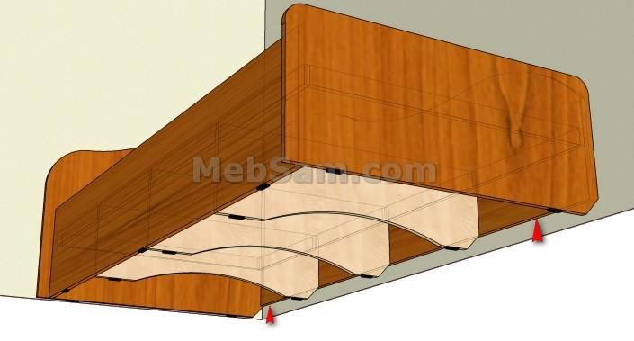 Односпальная кровать из ЛДСП, вид снизу
