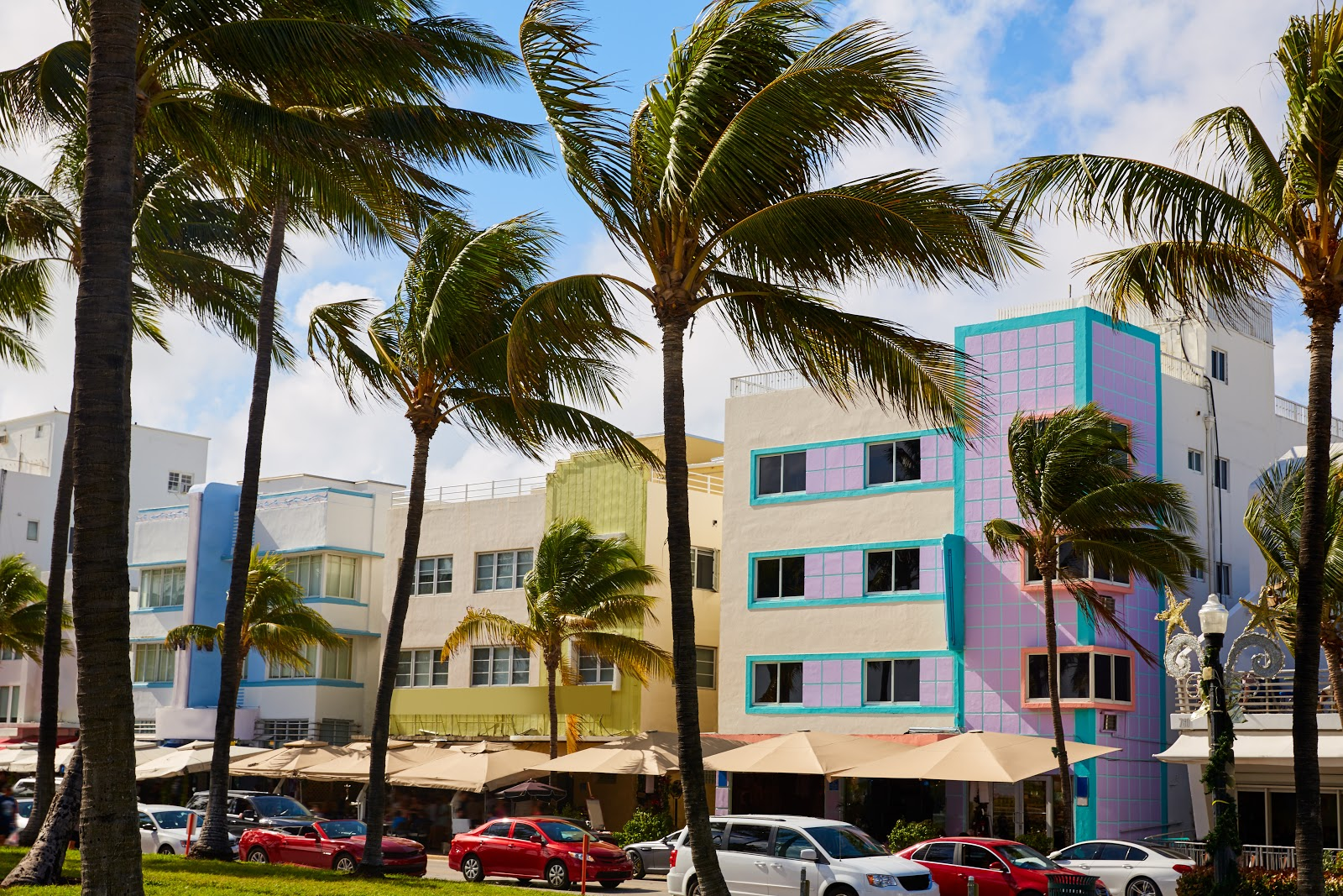 Some colorful examples of Art Deco buildings in the Miami Beach district. One of the main things to do in Miami.