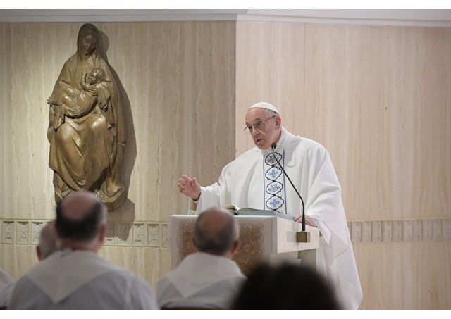 Pope Francis preaches the homily at the daily Mass at Casa Santa Marta.