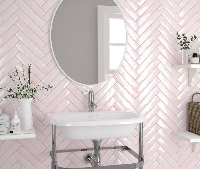 Piastrella Mix Rose Wall Tiles Roomset