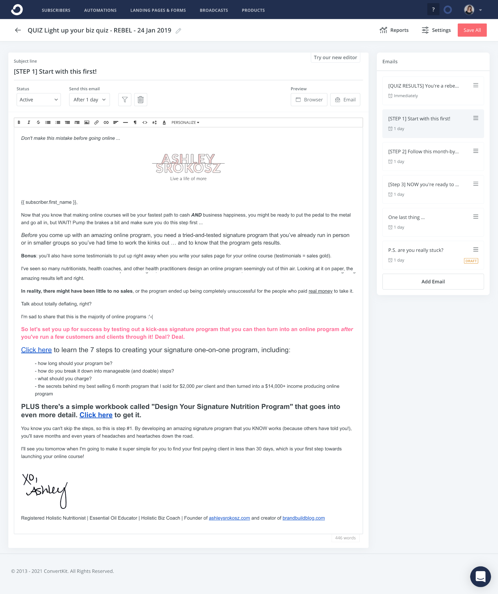 Sequence email in email platform