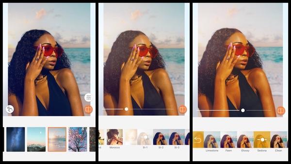 Tutorial de edição de uma foto de uma mulher negra na praia usando as ferramentas do AirBrush
